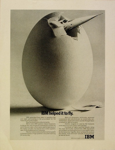 IBM advert Concorde breaking out of an egg by John Pasche 1972