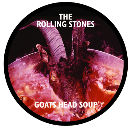 Promotional sticker for Rolling Stones Goats Head Soup album 1974 by John Pasche, Phil Jude photographer