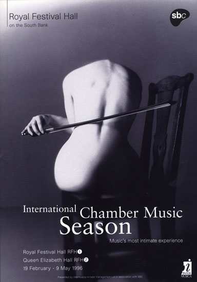 International Chamber Music Season leaflet Royal Festival Hall 1995 / 1996 by John Pasche Photography by Nadav Kander