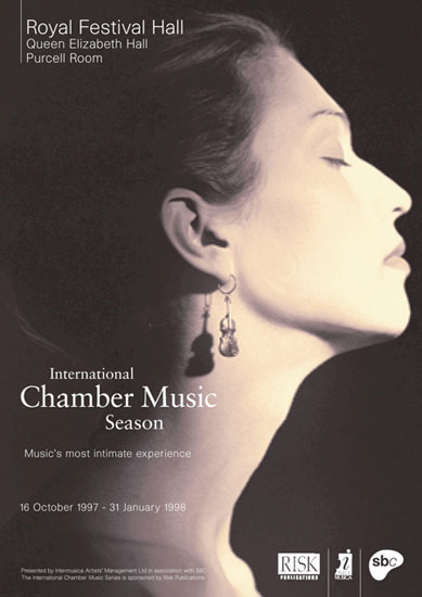 International Chamber Music Season leaflet Royal Festival Hall 1997 / 1998 by John Pasche Photography by Nadav Kander