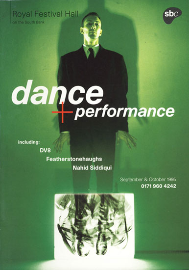 A5 leaflet for Dance and Performance Royal Festival Hall 1995 by John Pasche Photography by Simon Fowler