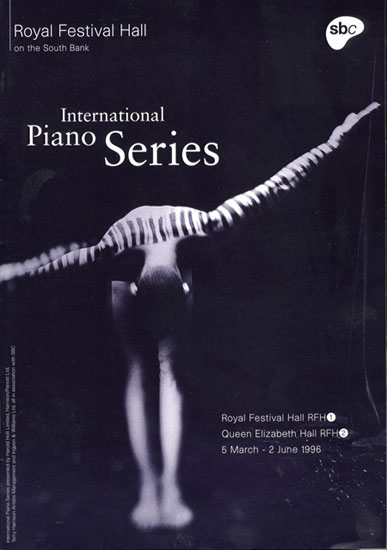 International Piano Series  leaflet Royal Festival Hall 1996 by John Pasche Photography by Spencer Rowell