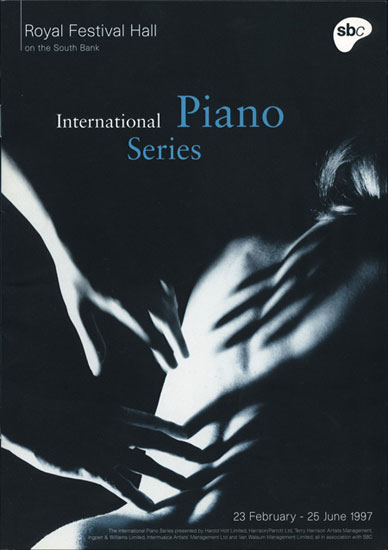 International Piano Series leaflet Royal Festival Hall 1997 by John Pasche Photography by Carol Fulton